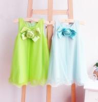 Wholesale Simple Pale Pink Dresses - 2013 Girl's Dresses Chest Rose Dress Simple Bow Vest Dress Children's Clothing