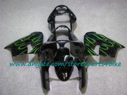 Chama verde em preto personalizar kit de carenagens de motocicleta para Kawasaki Ninja ZX-9R 2000 2001 ZX9R 00 01 ZX 9R carenagem ABS set com 7 presentes
