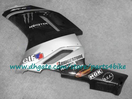 Carenados de moto de plata negra Kawasaki 2007 2008 Ninja ZX6R kit de carenado de carrocería ABS ZX-6R kits de carrocería de plástico 07 08 con 7 regalos