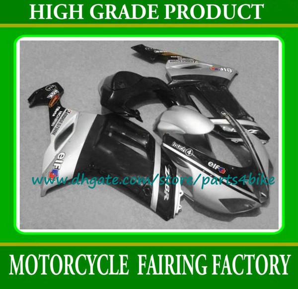 Schwarz silber moto Fairings Kawasaki 2007 2008 Ninja ZX6R ABS Verkleidung Verkleidung Kit ZX-6R Kunststoff Karosserie-Kits 07 08 mit 7 Geschenke