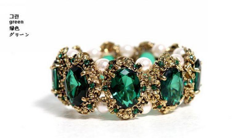 Hoge kwaliteit mode-smaragdd edelstenen ingelegd parel armband, nieuwe stijl armband.