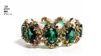 браслеты из изумрудного камня оптовых-Высокое качество мода Изумруд драгоценные камни инкрустированные жемчужный браслет , новый стиль браслет.