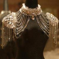 veste en cristal à épaulettes achat en gros de-Nouveau Style Épaulette Veste Cristal Bijoux Collier Veste De Mariée Robes De Mariée Robe Robe
