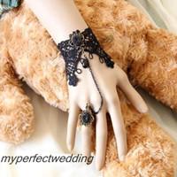 ingrosso braccialetto della catena del merletto nero-Elegante da sposa in pizzo nero con strass in cristallo da sposa, da polso a catena, per la festa di nozze. 13