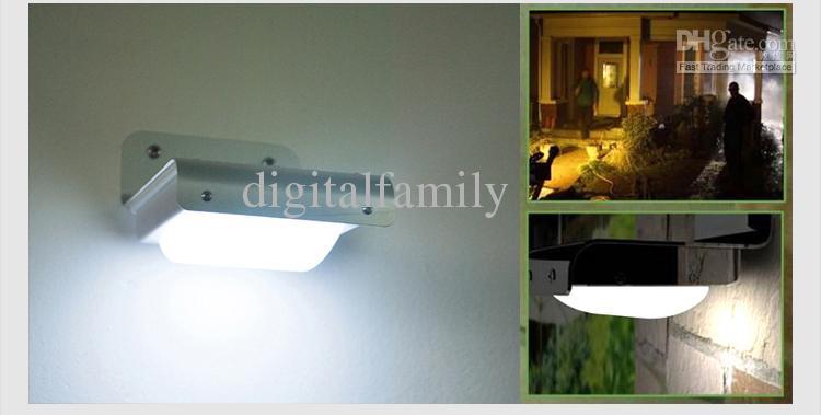 Solar Powered LED Light Body sensor Sound Sensor 16 LEDs Cool White Waterproof Outdoor led Light lamp Wall Light Garden Lamp DHL Ship
