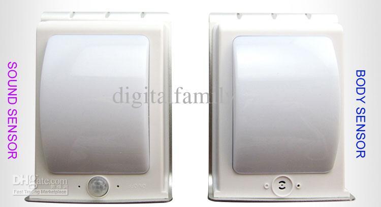 50 stks Solar Powered LED Light Body Sensor Sound Sensor 16 LED's Cool White Waterdichte Outdoor LED Light Lamp Wandlamp Garden Lamp DHL SHIP