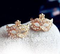 Wholesale White Animal Masks - (Mini Order Is $10+Gift,Mix Order)Free Shipping Full Rhinestones Magic Mask Stud EarringsStylish Earrings