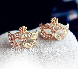 Wholesale Earrings Wholesale Mixed Order Silver - (Mini Order Is $10+Gift,Mix Order)Free Shipping Full Rhinestones Magic Mask Stud EarringsStylish Earrings