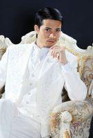 Wholesale Men Ivory Dress Pants - Customize White Embroidery Groom Tuxedos Groomsmen Men Wedding Blazer Business Suits Dress Suits (Jacket+Pants+Vest+Tie) BM:773