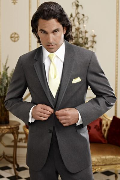 Top Selling Two Buttons Dark Grey Groom Tuxedos Notch Lapel Man Blazer Wedding Business Suits (Jacket+Pants+Vest+Tie) BM:789