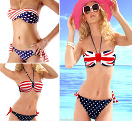 Maillots De Bain À Carreaux Femmes Pas Cher-Sexy Women Triangle Swimwear Bikini Set Fashion Pad Push Up Royaume-Uni États-Unis Flag Star String Swimsuit