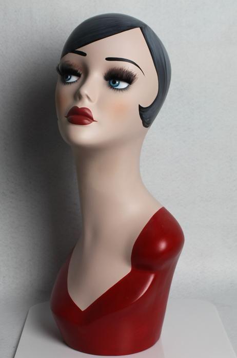 Cabeça de manequim pintado à mão de fibra de vidro Vintage para peruca de chapéu de jóias