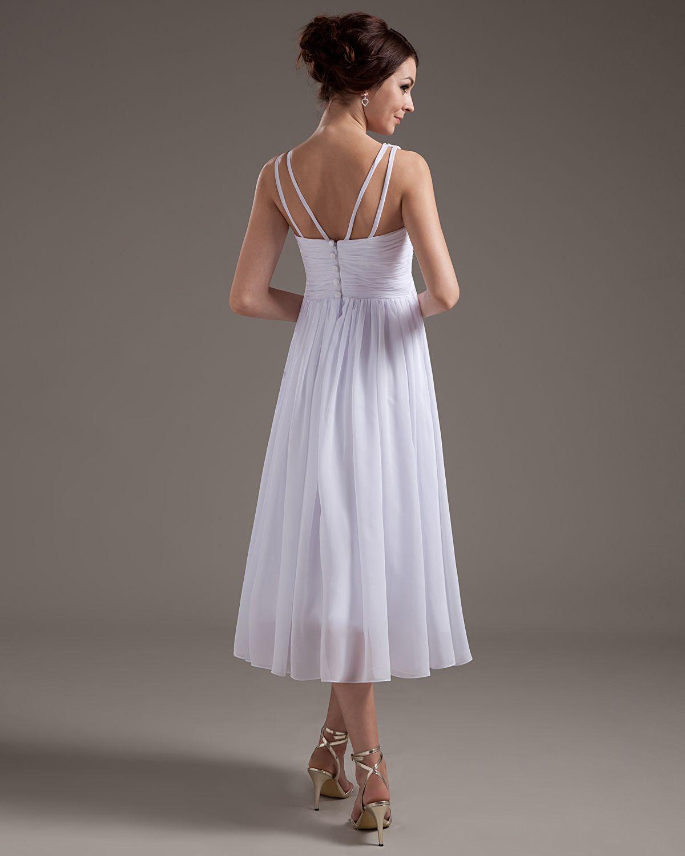 Fashion Discount Une ligne profonde V-cou sans manches thé longueur blanche en mousseline de soie plissée robes de mariée plage Jardin robes de mariée robes de mariée