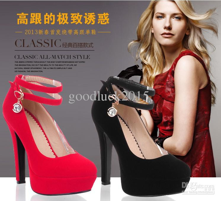 2013 New Women Fashion Diamond Bridal Wedding Shoes Gril Round Heel Suede  Waterproof Red Black High-Heeled Shoes for Evening Dress Prom Gown Online  with ... 566a4b216033