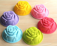 Wholesale Rose Shaped Silicone Mold - Free Shipping 150pcs lot single cupcake holder 60ML Silicone Cake Mold Rose Shape Handmade Soap Pudding Jelly Chocolate Mould