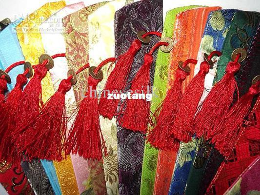Unique Silk Printed Hand Fan Pouch chinese style Tassel Fan Covers 50pcs/lot mix color Free