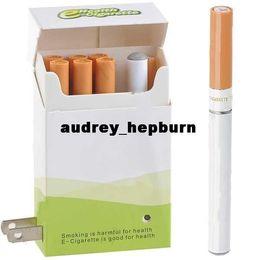 Wholesale E Smokes Refills - Quit Smoking Rechargeable Mini E-Cigarette + 6 Cartridge Refills & Charging Cigarette Box - Light Green & White