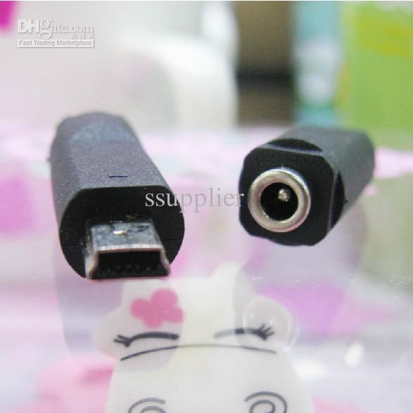 10pcs / lot --- mini usb a dc 3.5 * 1.35mm adaptador de cargador