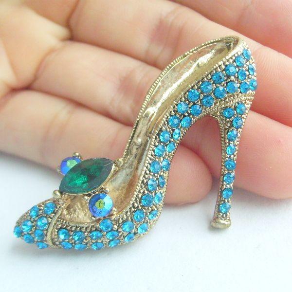 2017 Pretty High Heeled Shoes Brooch Pin W Turquoise Rhinestone ...