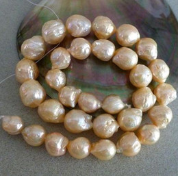 Wholesale Pearl Necklace 14kg - 12-13mm natural south sea gold pink pearl necklace 18inch 14KG