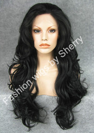 "wavy long black hair wig Canada - 26"" Extra Long #1 Black Wavy Heat Safe Synthetic Hair Wig High Quality 150% Density Front Lace Wavy Wig"