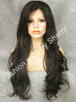 "Wholesale Extra Long Brown Wigs - 26"" Extra Long #2 6 Mix Brown Wavy Heat Safe Synthetic Hair Wig Front Lace Wavy Wig"