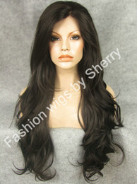 "Wholesale Brown Safe - 26"" Extra Long #2 6 Mix Brown Wavy Heat Safe Synthetic Hair Wig Front Lace Wavy Wig"