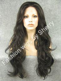 "$enCountryForm.capitalKeyWord Canada - 26"" Extra Long #4 Medium Brown Wavy Heat Safe Synthetic Hair Wig High Quality 150% Density Front Lace Wavy Wig"
