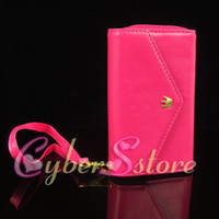 Wholesale 50pcs Fashion Lady Hard Crown Wallet Leather Bag Pouch Pocket Case Cover For phone iphone S G