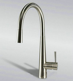 """Wholesale Thermostatic Taps - new 16"""" Pull Out Spout Kitchen Sink Faucet Brushed Nickel Mixer Tap Faucet DH-158"""