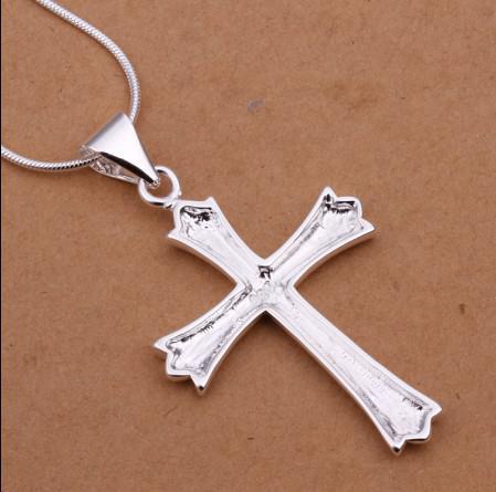 Moda Cruz Pingente de Colar-banhado a prata esterlina 925 jóias presente de Natal frete grátis clássico 10 pçs / lote