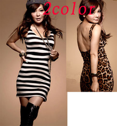 Wholesale Dress Evening Night Party - Sexy Women Leopard Striped Evening Cocktail Party Night-Out Party Clubwear Dress