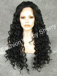 "Wholesale Extra Long Black Hair - 26"" Extra Long #1 Black Heat Friendly Synthetic Hair Fashion Curly Wig"