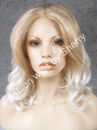 "Wholesale Mixed Blonde Wavy Wig - 16"" #1001 27hy Blonde Tip White Wavy Heavy Density Heat Friendly Synthetic Hair Front Lace Wig"