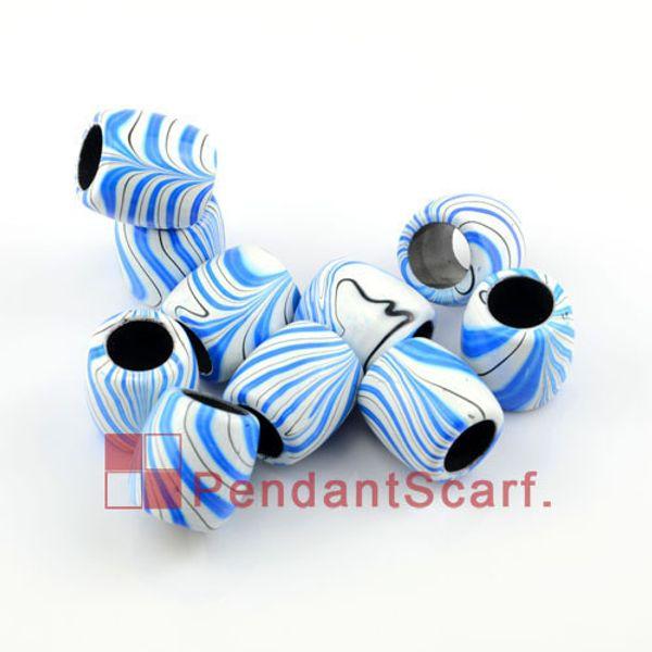 10 PCS / LOT, Top Populaire Bijoux Collier Écharpe Pendentif Ovale Forme En Plastique Perles Avec Charme Bleu Streak, Livraison Gratuite, AC0131C