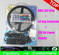 Wholesale Cheap Christmas Boxes - Cheap Led Strip Light RGB 5M 3528 SMD 300Led Waterproof IP65 + 44Key Controller+ 12V 2A Power Supply Transformer With Box Christmas Gifts
