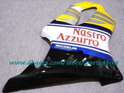 Kit de carenagem de plástico ABS para Honda CBR600 01-03 amarelo / branco Carcaças de carroçaria Nastro Azzurro CBR600 F4i 2001 2002 2003 carenagens com 7 presentes