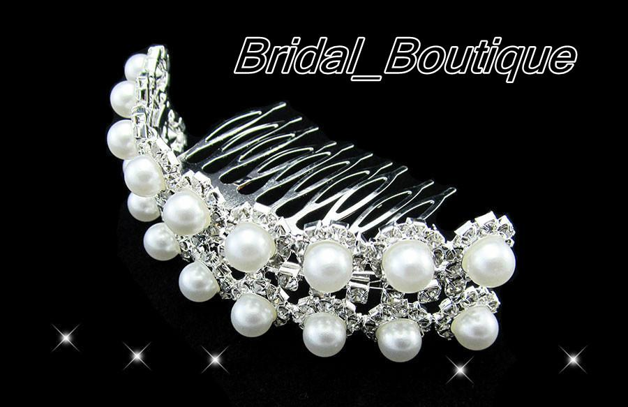 New Style Stylish Pearl Crystal Wedding Bridal Floral Hair Accessory Headpiece Crown Tiara with Comb