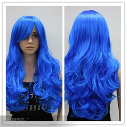 Wholesale Cheap Blue Wigs - Wholesale cheap charming New stylish blue long Wavy curly women's cosplay wig
