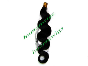 "Body Wave 24"" Stick Tip I-tip Hair Extensions,100% Indian Human Hair Extension, #1 Jet Black, 1g pcs,100pcs,Free Shipping on Sale"
