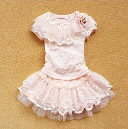 Wholesale Kids Dance Outfits - 2017 summer new Baby, Kids Clothing Children's girls skirts dance lace cotton brand party T shirt + tutu dress Outfits & Sets JO-462