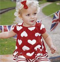 Wholesale Heart Set Girl Legging - Wholesale baby clothes girl set girl red loving heart clothing set cute t-shirt+legging 2pcs 5p l
