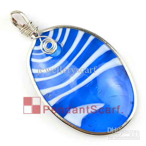 12 PÇS / LOTE, Venda Quente DIY Jóias Colar Cachecol Acessórios Oval Forma Céu Azul Raia De Vidro Pingente Charme, Frete Grátis, AC0209