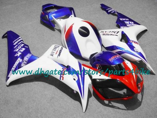 Populaire wit blauw rood 7 geschenken Racing Motorfiets Fairing Kit voor Honda Injectie 2006 2007 CBR1000RR 06 07 CBR1000RR FACKINGS KIT.