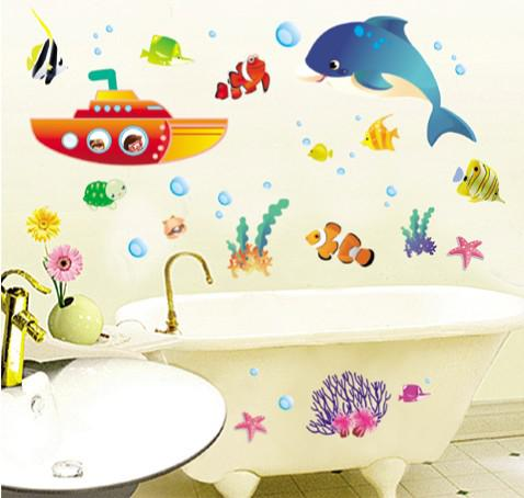 removable bathroom wall stickers submarine kids room wall decals 50x70cm fish nursery wall decor new listing inexpensive wall decals inspirational wall - Bathroom Wall Decals