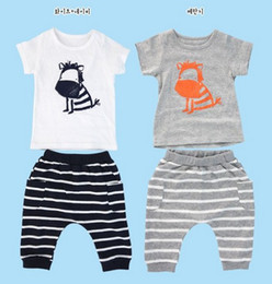 Argentina Venta al por mayor ropa de bebé niña conjunto verano camiseta + pantalones niños niños y niñas traje de cebra 2 color 5p / l Suministro