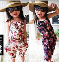 Wholesale Girls Blue Trousers - Wholesale baby clothes Girl's Floral Jumpsuit Suspender Trousers Pant 100% Cotton Flower Print Kids Summer Outfit 5p l