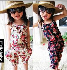 Wholesale baby clothes Girl's Floral Jumpsuit Suspender Trousers Pant 100% Cotton Flower Print Kids Summer Outfit 5p l from baby clothes wholesale manufacturers