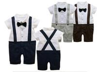 Wholesale Boy Gentlemen Straps - Wholesale baby clothes gentleman straps ha clothes Romper 2 colors 4p l