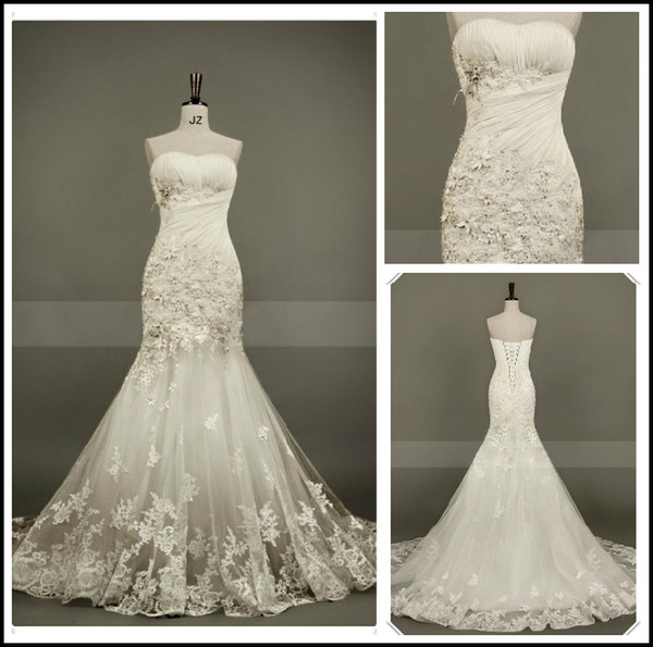 Actual Images New Sweetheart Strapless Beautiful Applique/Tulle Beading Chapel train Mermaid Wedding Dresses Bridal Dresses Lace up